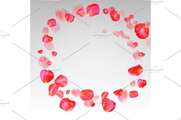 A Lot Of Falling Red Rose Petals On Transparent Background