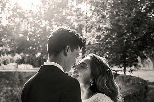 Sun shines over smiling newlyweds