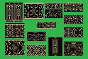 Set of 13 wrought iron style Borders
