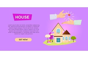 Buying House Online. Property Selling. Web Banner.