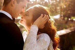 Summer sun and wedding couple