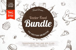 Hand Drawn Vector Food Bundle