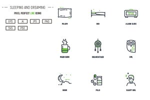 Sleeping and dreaming line icons