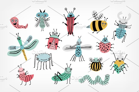 funny bugs doodle set and pattern