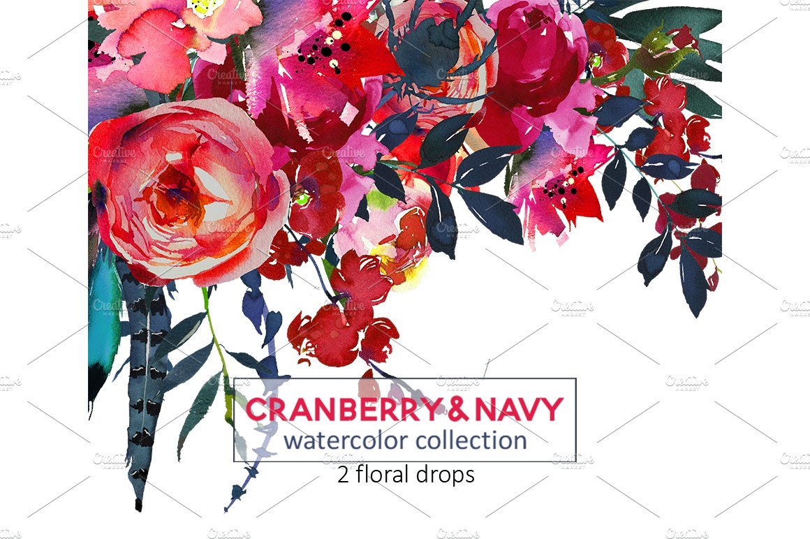 Red Navy Boho Watercolor Flowers - Illustrations | Creative Market Pro