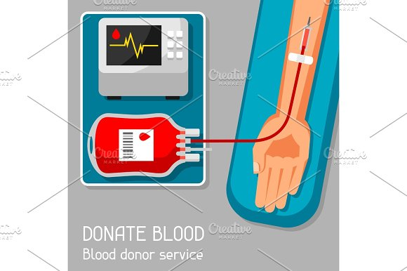 Donate Blood Donor Service Medical And Healthcare Concept