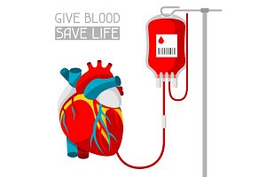 Donate blood. Medical and healthcare iIllustration of human heart