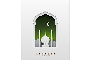 Ramadan Kareem beautiful design of paper art and craft style.
