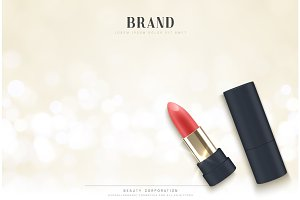 Cosmetics red lipstick. 3d illustration beautiful advertising poster