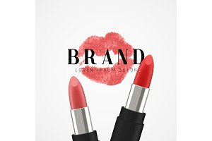 Cosmetics lipstick. Beauty poster