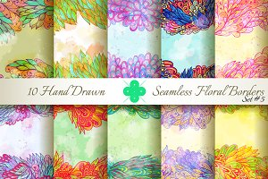 10 Floral Seamless Borders. Set#5