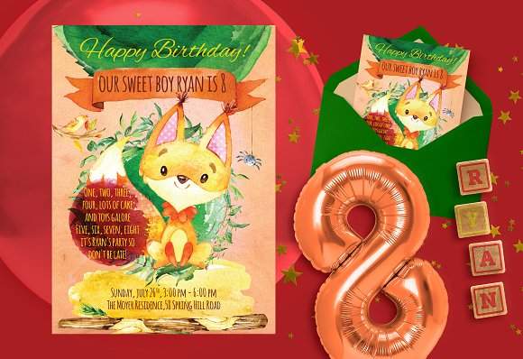 Forest Happy Birthday Invitation