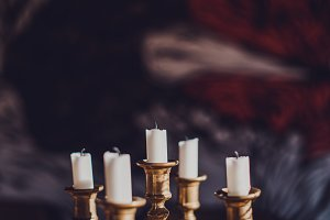 Candles on Wooden Table (Film Look)