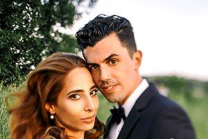Wind blows bride's curls