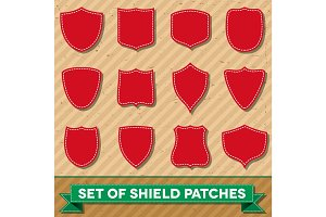 Set of shield shaped stitched patches