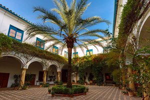The sunny court in Cordoba, Spain