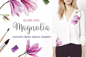 Watercolor magnolia set