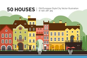City Constructor. 50 Vector Houses