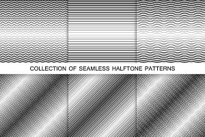 Striped halftone seamless patterns