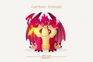 ♥ vector winged red dragon