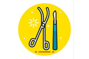 Medical scalpel and clamp