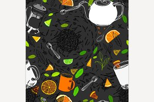 Hand Drawn Seamless Tea Pattern