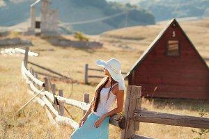 woman travel village alone