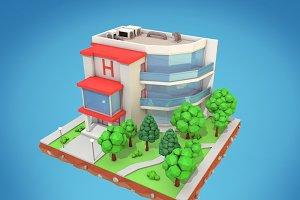 Cartoon Hotel Low Poly 3D Model