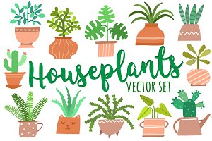 House plants vector set