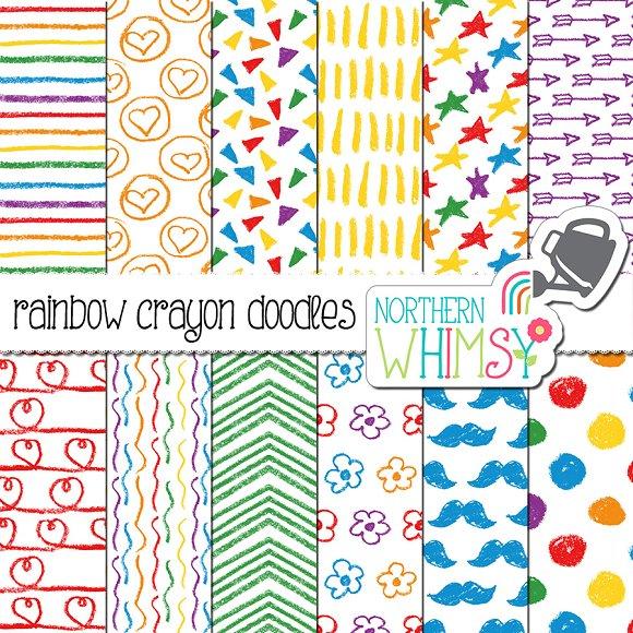 rainbow crayon doodles graphic patterns creative market