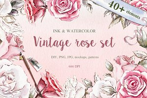 Vintage roses watercolor set