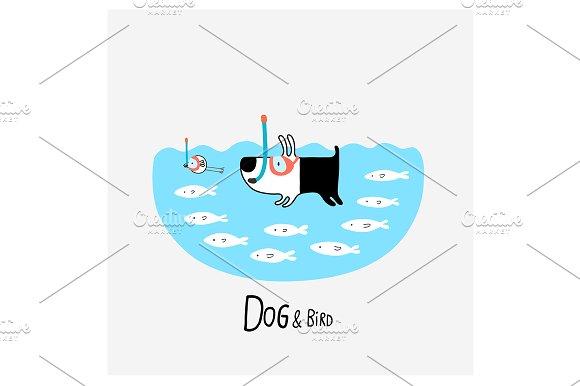 Dog Bird Snorkeling