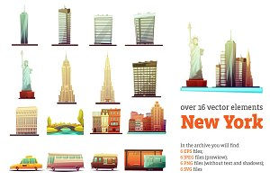 New York Cartoon Set