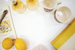 Yellow Lemons and Amber Glasses
