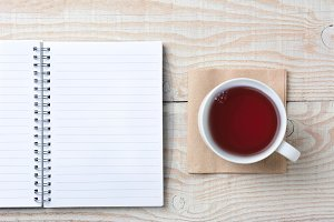Note Pad and Cup of Tea