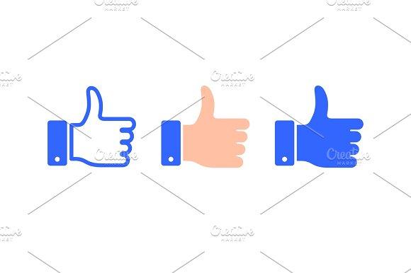 Like Thumb Icon Flat Style Vector