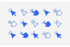 Mouse cursor arrows and hands icon set