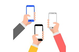 Hands with smartphone flat style illustration icon