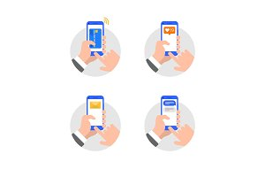 Hands with smartphone flat style illustration