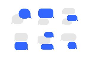 Message Service Flat Bubbles Icon Set