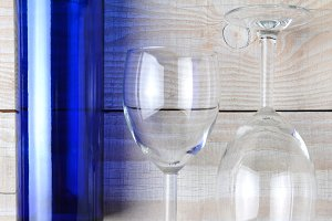 Wine Glasses and Blue Bottle