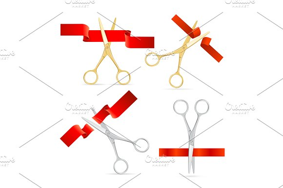 Realistic Scissor Cut Red Tape Set