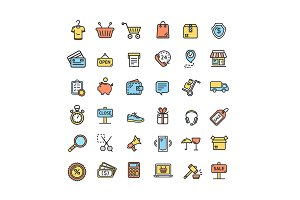 Ecommerce Icon Color Line Set