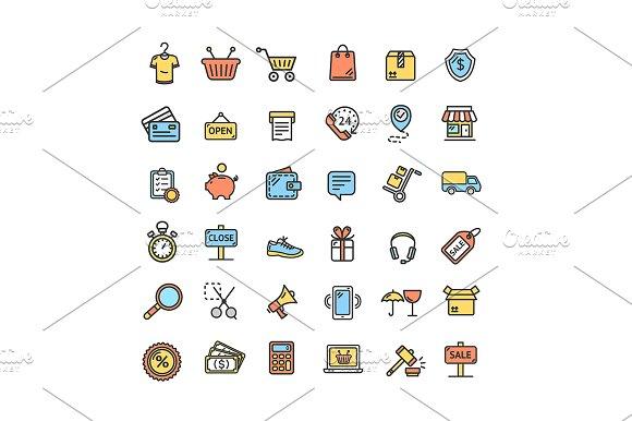 Ecommerce Icon Color Line Set