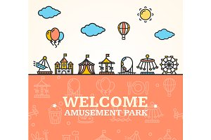 Amusement Park Welcome Card.