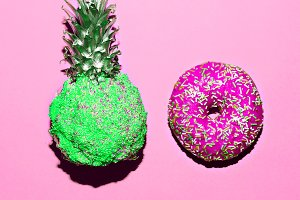 Donut And Pineapple. Surreal