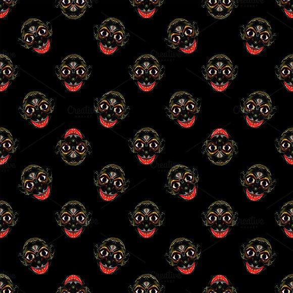 Tribal Mask Motif Conversational Pattern