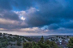 Dramatic dark grey sky landscape