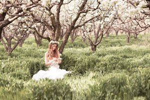 Girl in pear orchard