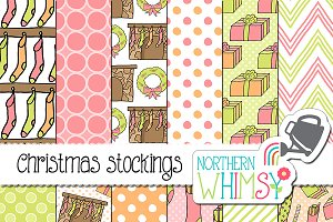 Christmas Stocking Seamless Patterns